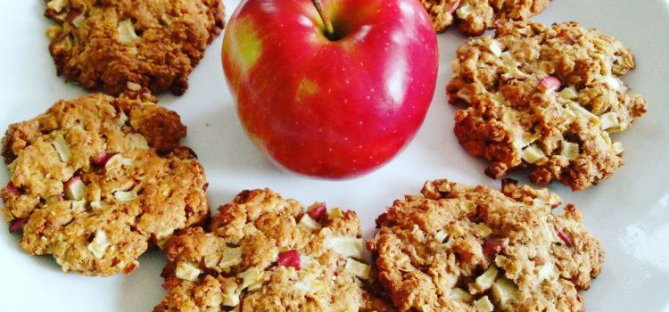 Chewy apple oatmeal cookies with crispy borders