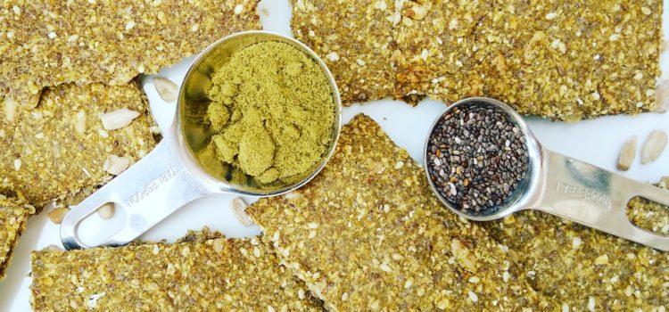 Gluten-free and vegan chia hemp crackers