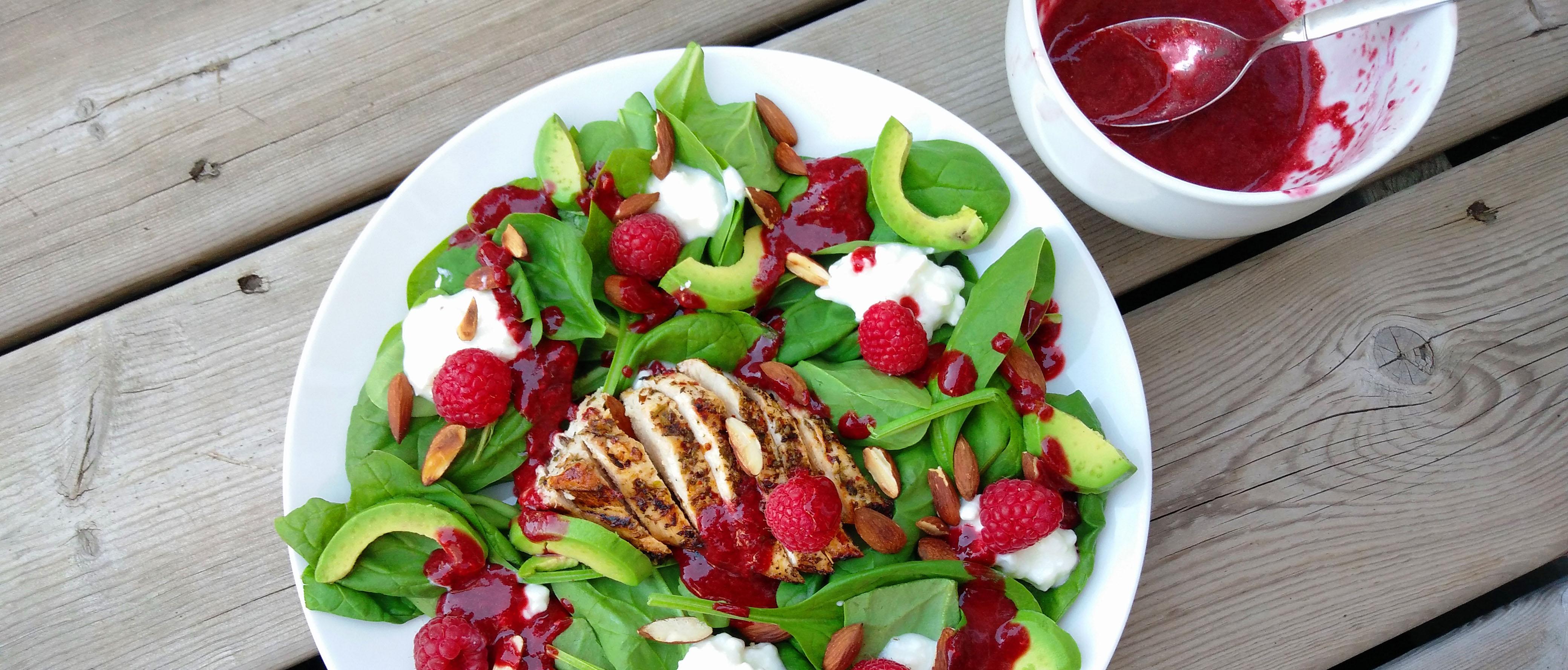Summer hotness! Raspberry spinach chicken salad