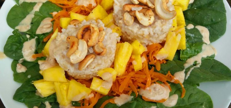 Tropical coconut rice salad with peanut butter drizzle