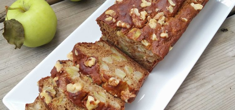 Whole wheat apple walnut banana bread