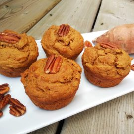Healthy sweet potato speculaas muffins