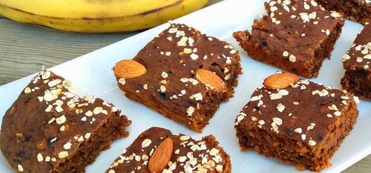 Vegan banana coffee blondies